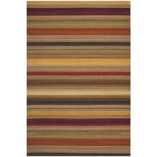 Safavieh Hand-woven Striped Kilim Gold Wool Rug (2'6 x 4')