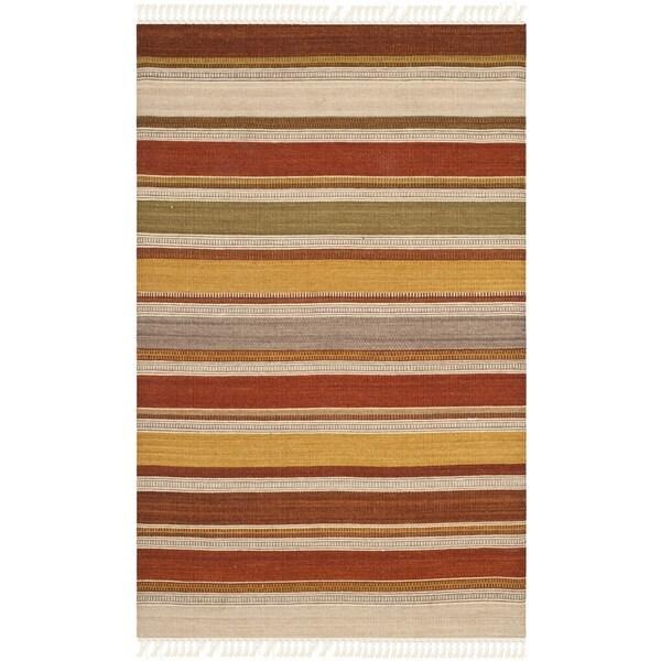 Safavieh Hand-woven Striped Kilim Multi Wool Rug (2'6 x 4')