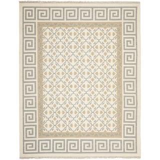 Safavieh Hand-woven Sumak Ivory/ Grey Wool Rug (9' x 12')