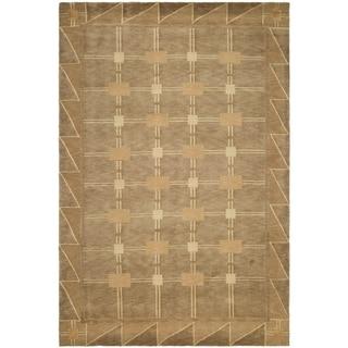 Large Safavieh Hand-knotted Tibetan Beige/ Brown Wool Rug (8' x 10')