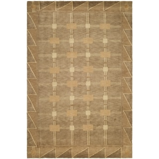 Safavieh Hand-knotted Tibetan Beige/ Brown Wool Geometric Rug (9' x 12')