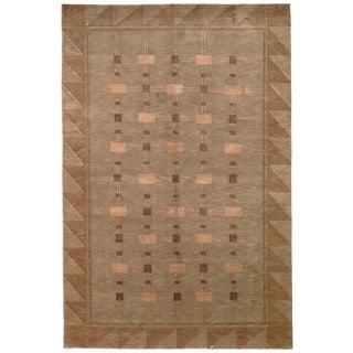 Safavieh Tibetan Green/ Gold Hand-knotted Wool Area Rug (4' x 6')