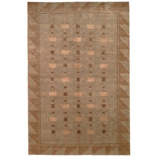 Safavieh Hand-knotted Tibetan Green/ Gold Wool Area Rug (8' x 10')