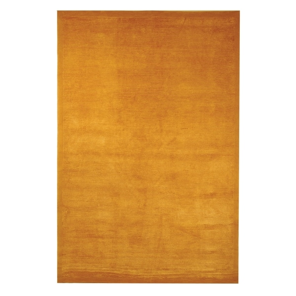 Safavieh Hand-knotted Tibetan Plain Gold Wool/ Silk Rug (4' x 6')