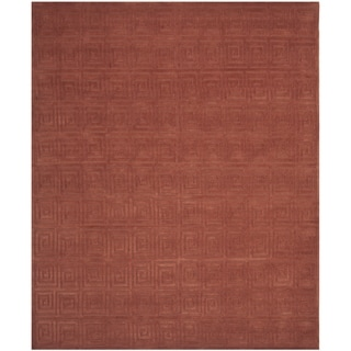Safavieh Hand-knotted Tibetan Greek Key Rust Wool Rug (9' x 12')