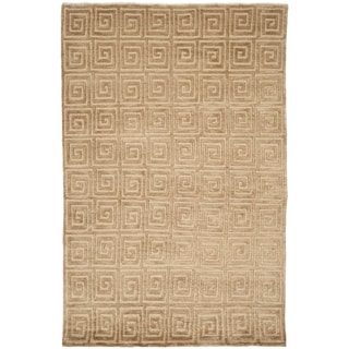 Safavieh Hand-knotted Tibetan Greek Key Beige/ Brown Wool Rug (5' x 7'6)