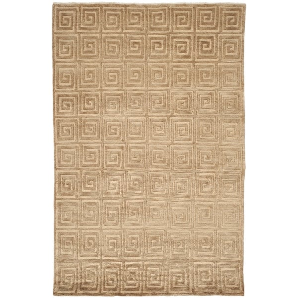 Safavieh Hand-knotted Tibetan Greek Key Beige/ Brown Wool Rug (6' x 9')