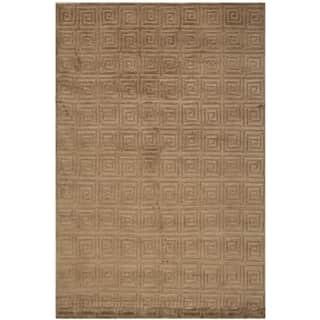 Safavieh Hand-knotted Tibetan Greek Key Deep Bronze Wool Rug (9' x 12')