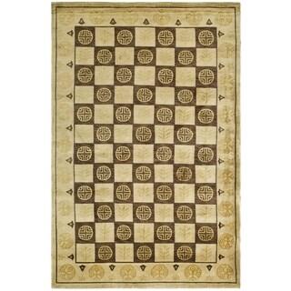 Safavieh Hand-knotted Tibetan Green/ Lavander Wool/ Silk Rug (8' x 10')