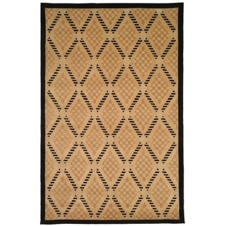 Safavieh Hand-knotted Tibetan Black/ Gold Wool Rug (10' x 14')