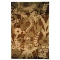 Safavieh Hand-knotted Tibetan Brown Wool Floral Rug (8' x 10')