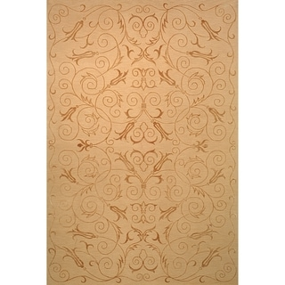 Safavieh Hand-knotted Tibetan Iron Scrolls Light Gold Wool/ Silk Rug (8' x 10')