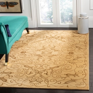 Safavieh Hand-knotted Tibetan Iron Scrolls Light Gold Wool/ Silk Rug (9' x 12')