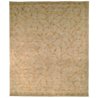 Safavieh Hand-knotted Tibetan Green/ Gold Wool/ Silk Rug (8' x 10')