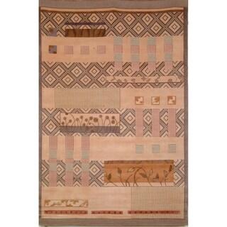Safavieh Hand-knotted Tibetan Beige Wool/ Silk Rug (8' x 10')