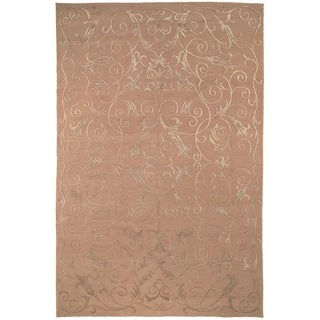 Safavieh Hand-knotted Tibetan Iron Scrolls Beige Wool/ Silk Rug (6' x 9')