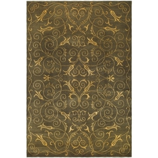 Safavieh Hand-knotted Tibetan Iron Scrolls Green/ Gold Wool/ Silk Rug (10' x 14')