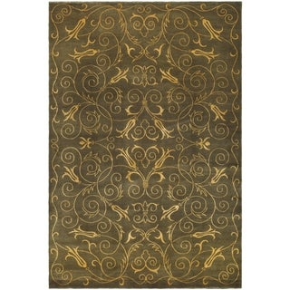Safavieh Hand-knotted Tibetan Iron Scrolls Green/ Gold Wool/ Silk Rug (8' x 10')