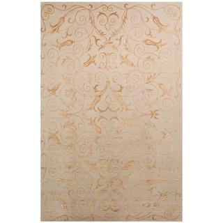 Safavieh Hand-knotted Tibetan Iron Scrolls Slate/ Gold Wool/ Silk Rug (5' x 7'6)