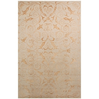 Safavieh Hand-knotted Tibetan Iron Scrolls Slate/ Gold Wool/ Silk Rug (9' x 12')