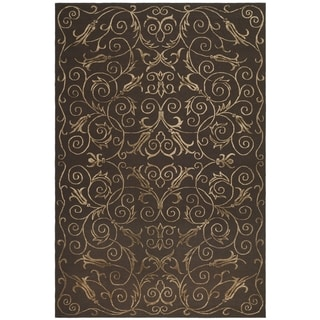 Safavieh Hand-knotted Tibetan Iron Scrolls Chocolate Wool/ Silk Rug (5' x 7'6)