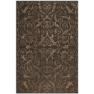 Safavieh Hand-knotted Tibetan Iron Scrolls Chocolate Wool/ Silk Rug (8' x 10')