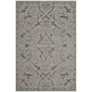 Safavieh Hand-knotted Tibetan Iron Scrolls Pewter Wool/ Silk Rug (10' x 14')