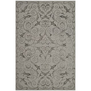 Safavieh Hand-knotted Tibetan Iron Scrolls Pewter Wool/ Silk Rug (9' x 12')