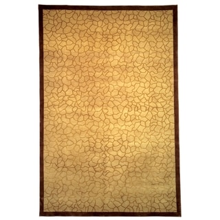 Safavieh Hand-knotted Contemporary-style Tibetan Gold Wool/ Silk Rug (6' x 9')