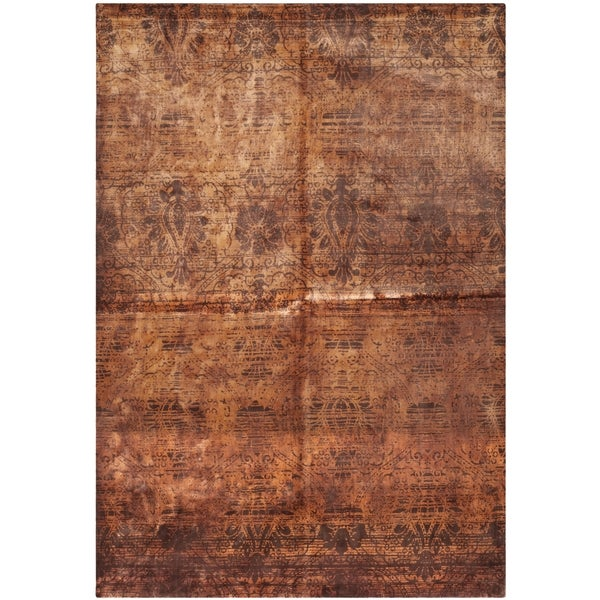 Safavieh Hand-knotted Tibetan Contemporary Rust Wool Rug (8' x 10')