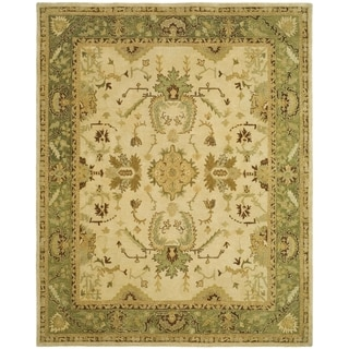 Safavieh Hand-made Taj Mahal Ivory/ Green Wool Rug (5'6 x 8'6)