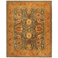 Safavieh Hand-made Taj Mahal Blue/ Tan Wool Rug (9'6 x 13'6)