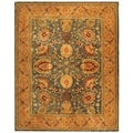 Safavieh Hand-made Taj Mahal Blue/ Tan Wool Rug (5'6 x 8'6)