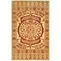 Safavieh Hand-made Taj Mahal Light Gold/ Red Wool Rug (5'6 x 8'6)