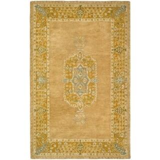 Safavieh Hand-made Taj Mahal Antique Rose/ Cork Wool Rug (5'6 x 8'6)