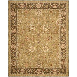 Safavieh Hand-made Taj Mahal Gold/ Chocolate Wool Rug (9'6 x 13'6)