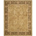 Safavieh Hand-made Taj Mahal Gold/ Chocolate Wool Rug (5'6 x 8'6)