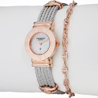 Charriol Women's 'St Tropez' Diamond Dial Stainless Steel Quartz Watch
