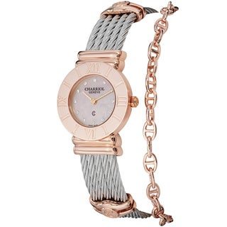 Charriol Women's 'St Tropez' Rose Goldtone Stainless Steel Pink Mother of Pearl Dial Watch