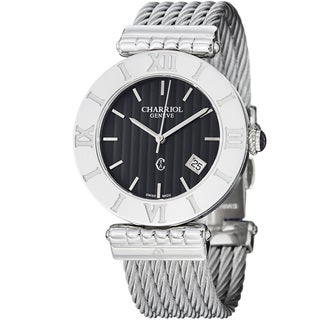 Charriol Women's 'Alexandre' Black Dial Stainless Steel Quartz Watch