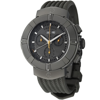 Charriol Men's 'Celtica' Grey Dial Grey Rubber Strap Chrono Watch