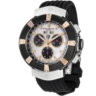 Charriol Men's 'Celtica' Mother of Pearl Dial Black Rubber Strap Watch