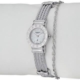 Charriol Women's 'St Tropez' Diamond Dial Stainless Steel Mini Watch