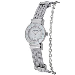 Charriol Women's 'St Tropez' Mother of Pearl Diamond Dial Mini Watch