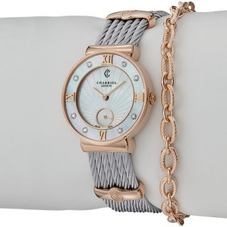 Charriol Women's 'St Tropez' Mother Of Pearl Dial Rose Gold Watch