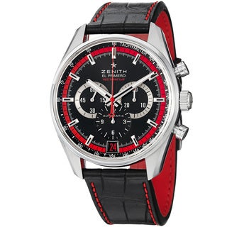 Zenith Class 'El Primero' Black Dial Black Leather Strap Chrono Watch