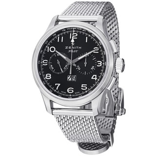 Zenith Men's 'Pilot' Black Dial Stainless Steel Big Date Watch