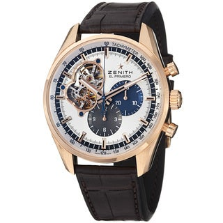 Zenith Men's 'El Primero' Silver Dial Rose Gold Brown Strap Watch