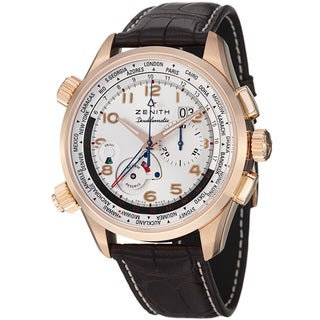 Zenith Men's 18.2400.4046.01C 'Pilot Doublematic' Silver Dial Rose Gold Alarm Watch