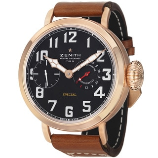 Zenith Men's 'Pilot' Black Dial Rose Gold Brown Leather Strap